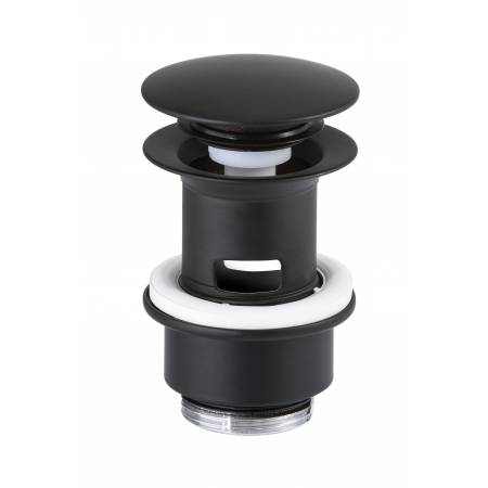 Bathroom Basin Clicker Waste (Slotted) in Matt Black