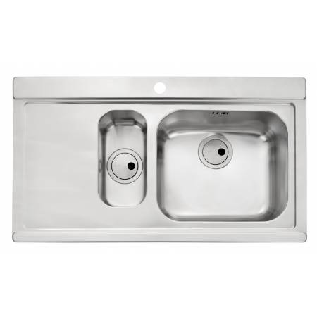 Maxim 1.5 Bowl & LH Drainer in Stainless Steel (Includes a pair of black glass sink covers worth £102)