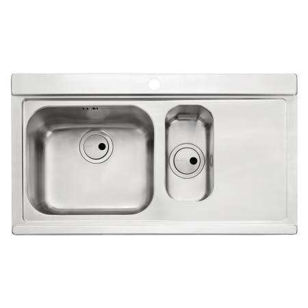 Maxim 1.5 Bowl & RH Drainer in Stainless Steel (Includes a pair of black glass sink covers worth £102)