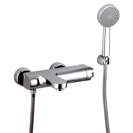 Rapture Wall Mounted Thermo Bath Shower Mixer Kit in Chrome